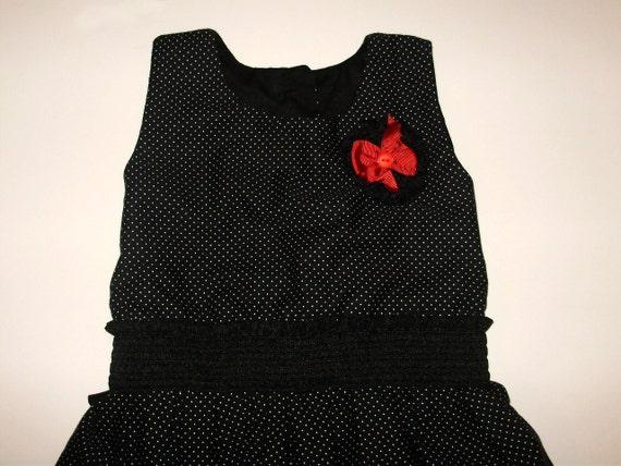 Black & White polka dot puffball dress - By Tamara Harris - 2-3 years