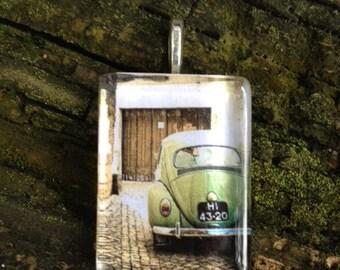 Vintage VW Beetle Art Glass Pendant