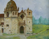"framed 8"" x 10"" oil reproduction of Edwin Deakin San Carlos Borromeo de Carmel"