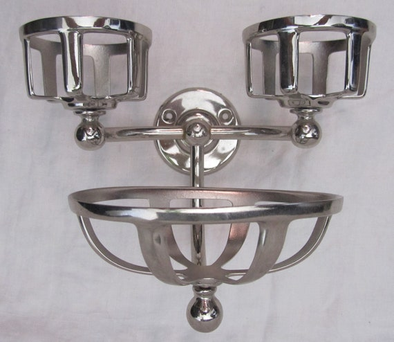 Antique Wall-Mounted Chromed Soap Dish and Glasses Holder