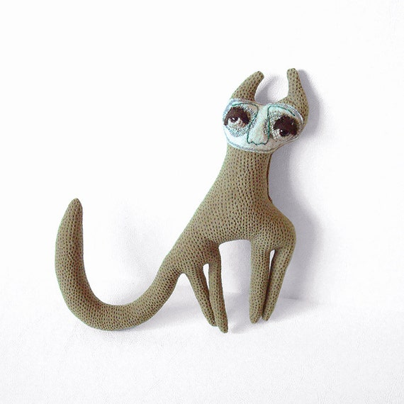 Soft Sculpture Plush Upcycled Fabric Felt GEORGETTE the Green Cat