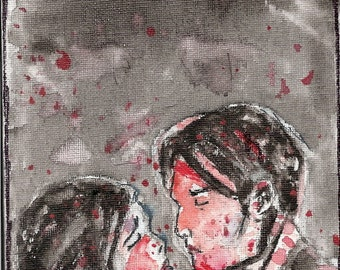 Three Cheers- My Chemical Romance Watercolor Painting on Small Canvas Panel