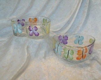 BUTTERFLY CANDY DISHES heart shaped set of two