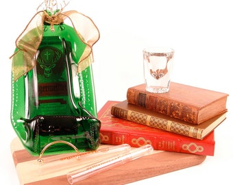 Jagermeister Flattened Bottle - Cheese & Cracker Tray w/ Spreader / Bar and Wall Decor / Melted / Slumped / Fused / Upcycled