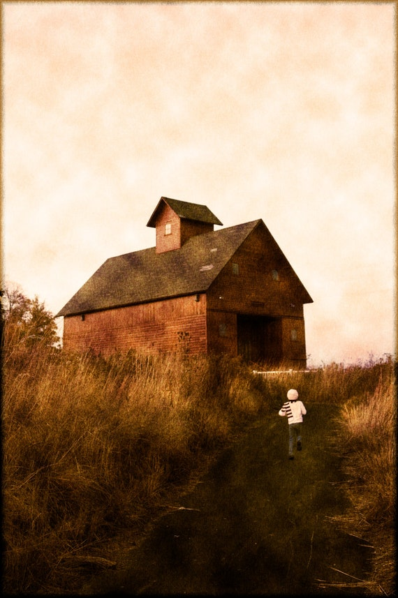 Fine Art Photography- child running-farm -Chicago- Red Barn-watercolor-texture-color photograph-pink sky-wheat field-home decor-art print