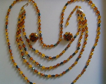 WEST GERMANY Jewelry Set Beautiful Multi Colors Epoxy Golden Orange Yellow Amber Black Faceted AB Glass/Plastic Beaded Necklaces & Earrings