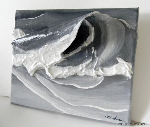 "Original Ocean Art by Noel Solomon - 3D Wave - Surf - Black & White Single Wave - 8"" x 10"""