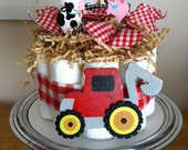 ON SALE - Red Gingham Tractor and Farm Animals Mini Diaper Cake - Baby Boy Shower Gift, Single Tier