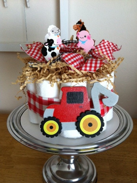 Tractor Diaper Cakes : On sale red gingham tractor and farm animals mini diaper