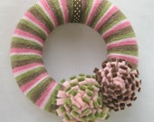 Pink Wreath Mini with Pink Camo Yarn and Pink Green and Brown Flowers