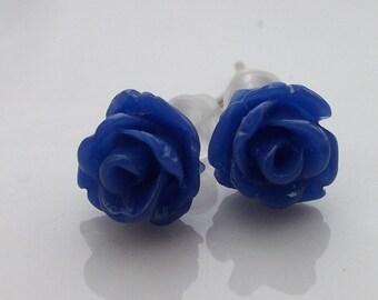 Tiny Cobalt Blue Rose Earrings