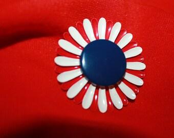 Vintage Mod 60's Red white and blue enamel flower Brooch