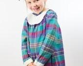 Vintage Girls Plaid Back to School Dress