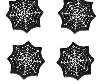 UNCUT GLOW in the dark Spiderweb felt appliqué embellishment felties(4)