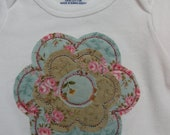 Baby Onesie with Appliqued Shabby Flower