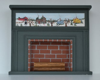Fireplace with Winter Scene