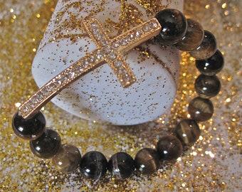 Cross Bracelet.  Tigers Eye