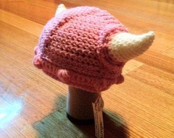 Pink crochet viking helmet baby size
