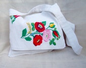 Handmade embroidered white pouch bag, flowery