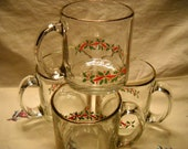 Vintage Glass Christmas Mugs With Gold Trim & Holly Leaves(4)