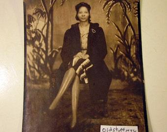 Harlem Matron Vintage Studio Portrait 1940s Collectible Photo Found Art