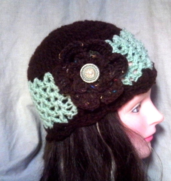 SALE  Brown and Mint Crochet  Hat w/Removable Flower Hairclip