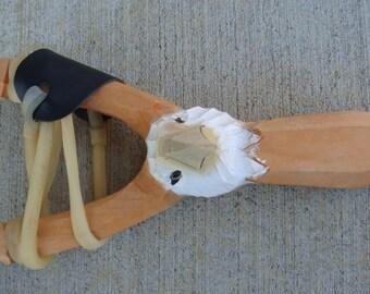 Wooden 3D Hand Carved Eagle Head Sling shot real wood
