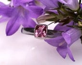 Pink Spinel Ring. White gold and Spinel Engagement Ring. Solitaire. Spinel. Bezel set. US 6.25 Ready to Ship.