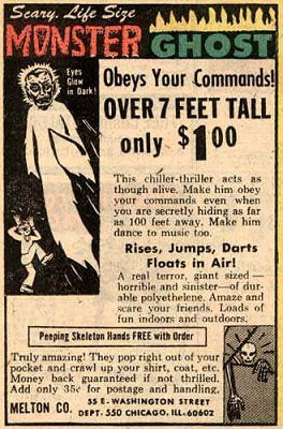 "Halloween Decoration..Scary Life size Over 7 feet Tall MONSTER GHOST ""Obey's your commands""  Glow in the dark eyes."