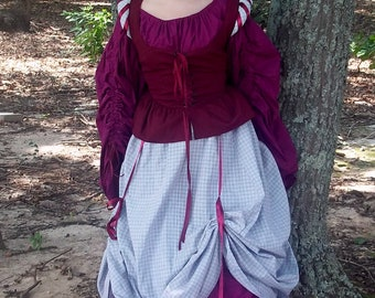 Wench Bodice and Overskirt, SCA, LARP, Costume, Renassance Faire,
