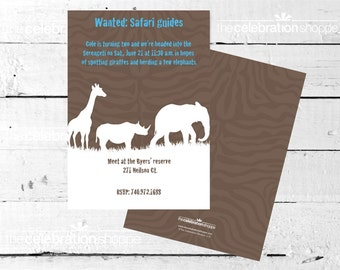 SAFARI Silhouette BIRTHDAY Party INVITATION from The Celebration Shoppe