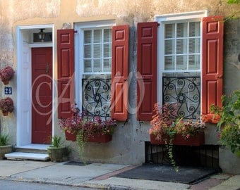 House with red shutters in Charleston, South Carolina