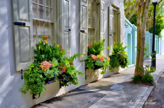 Flower boxes on a tan colored house in Charleston, South Carolina