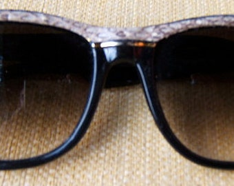 Very 1980's style Two-tone Women's Sunglasses - Snakeskin Trim with Gold Accent