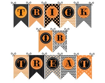 SALE! Halloween Banner Trick or Treat Party Banner Printable INSTANT DOWNLOAD