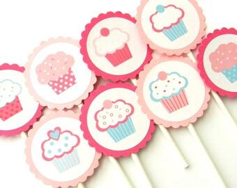 12 Bubblegum Cupcake Cupcake Toppers. Baby Girl. Baby Sprinkle. First Birthday. Cupcake Theme.
