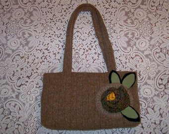 Joanne - Repurposed, Upcycled Felted Wool Sweater Bag, An Original Eula Birdie Bag