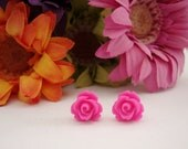 Pretty 'Hot Pink' Rose Stud Earrings