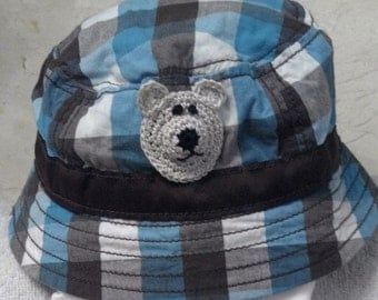 Boys Baby Infant Toddler Fishing Bucket Hat - Handmade Teddybear Face -  Brown, Blue Plaid - Sizes 0-3 , 3-6, 6-12, 12-18, 18-24 months