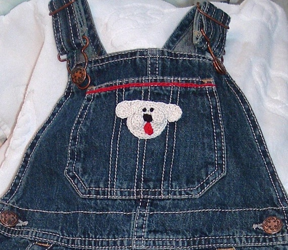 Unisex Boys Girls Baby Infant Toddler Denim Overalls Long Pants  - Handmade Puppy Dog Face - Blue Denim - Sizes 9 and 24 months