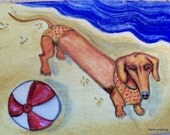 ACEO Original oil Dog Dachshund Puppy Beach Bikini ball water sun impressionism
