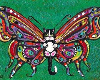 ACEO Darling Tuxedo Catterfly Butterfly Cat Kitten Fairy Fantasy Art MINI PRINT of original by K.McCants