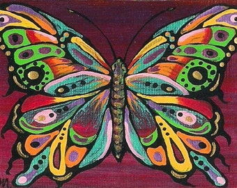 ACEO Beautiful Colorful Butterfly Mini FANTASY Art PRINT of original by K.McCants