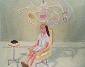 Original fine art oil painting on canvas - Brain washing machine