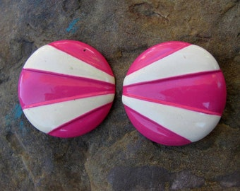 Price Reduced - Vintage Pink and White Earrings