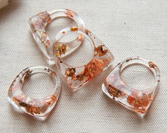 Iced Crystal Resin Ring Copper Gold Flakes Geo Design, Choose your size -Made to Order-