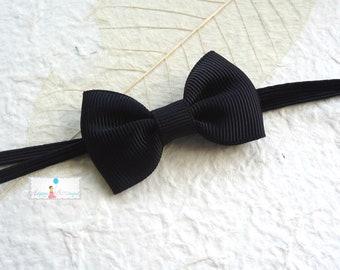 baby bow headband, Petite Black Bow Baby Girls Headband/  Infant Girls headbands / Baby headbands ..Baby Photo Props Bows