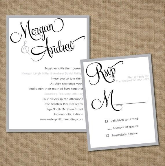 "Simple And Warm Design Wedding Invitations Template: Items Similar To Wedding Invitation Set: ""Simple Script"