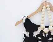White chocolate - cream wooden necklace, round beads