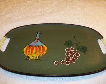Mid Century Modern Serving Tray, Olive Green with Grapes
